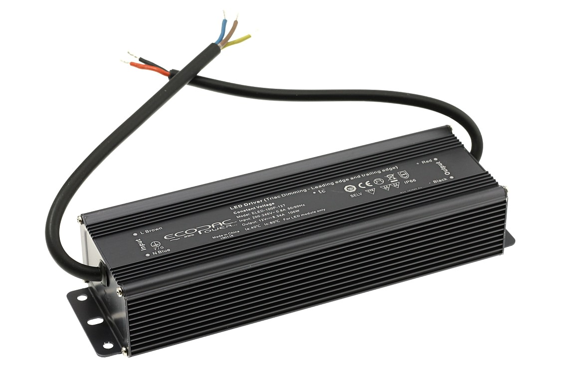 Mains to 12V LED Strip Dimmable Driver IP66 100W - Click Image to Close
