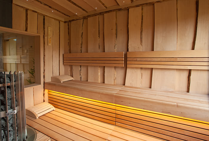 Orange LED Strip Sauna Installation