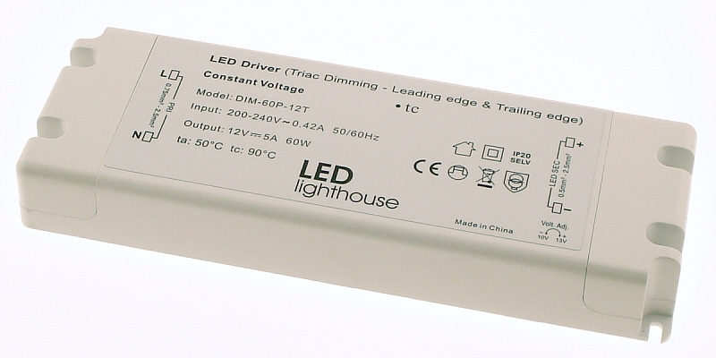 Mains to 12V LED Strip Dimmable Driver 60W [ELED-60P-12T